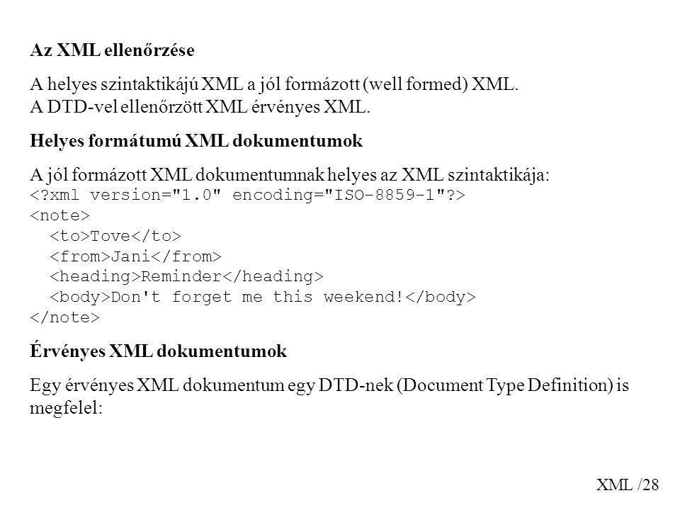 Helyes formátumú XML dokumentumok