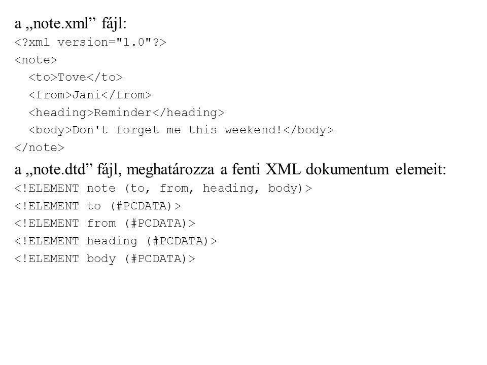 """a """"note.dtd fájl, meghatározza a fenti XML dokumentum elemeit:"""