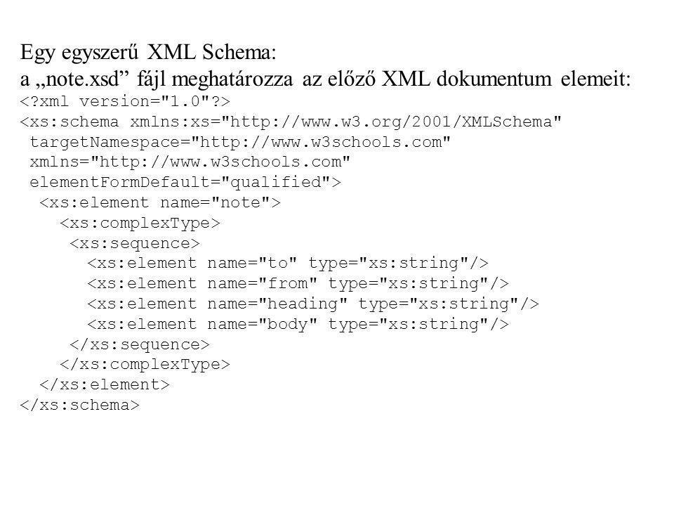 Egy egyszerű XML Schema: