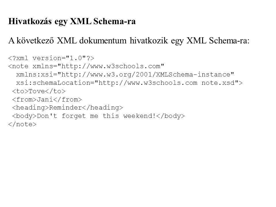 Hivatkozás egy XML Schema-ra