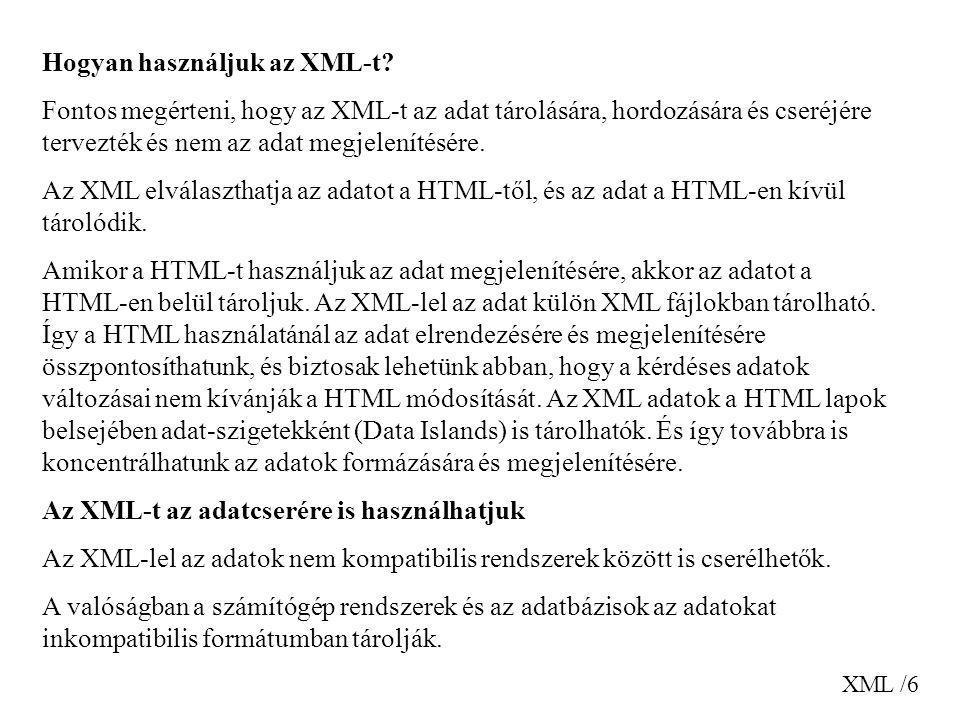 Hogyan használjuk az XML-t