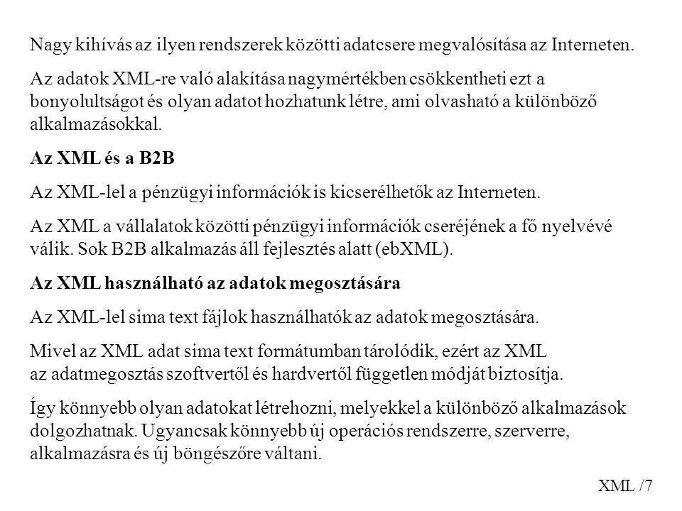 Az XML-lel a pénzügyi információk is kicserélhetők az Interneten.