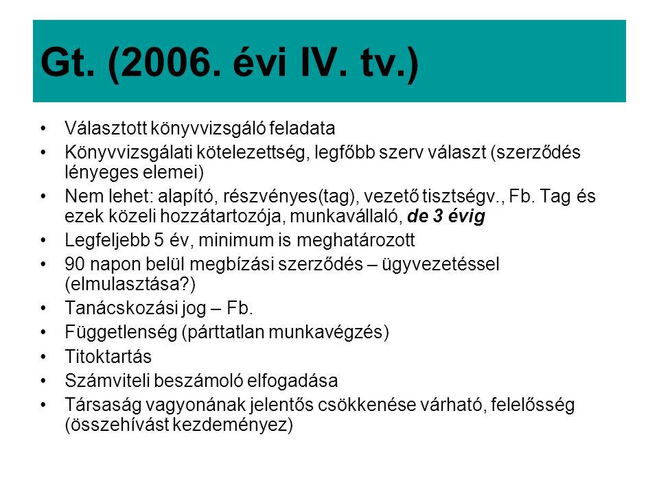 Gt. (2006. évi IV. tv.) Választott könyvvizsgáló feladata