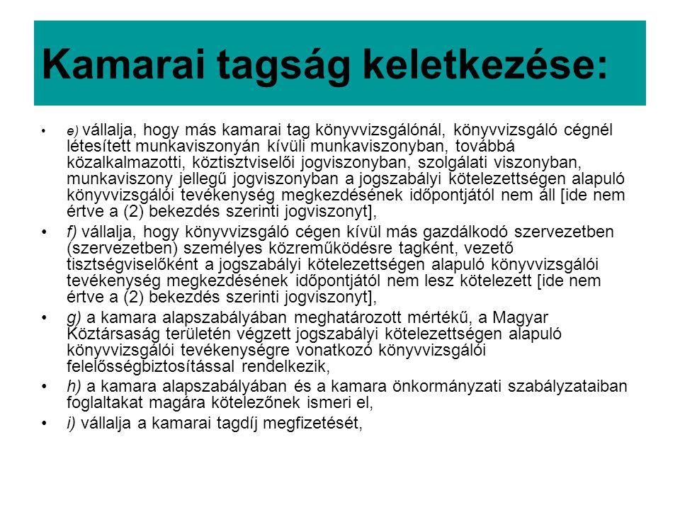 Kamarai tagság keletkezése: