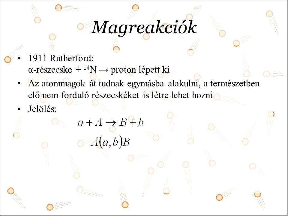 Magreakciók 1911 Rutherford: α-részecske + 14N → proton lépett ki