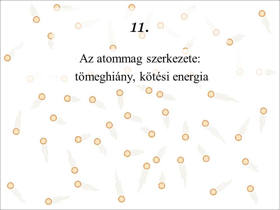 11. Az atommag szerkezete: tömeghiány, kötési energia