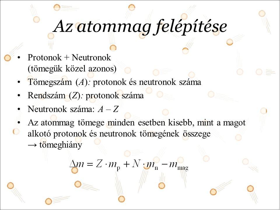 Az atommag felépítése Protonok + Neutronok (tömegük közel azonos)