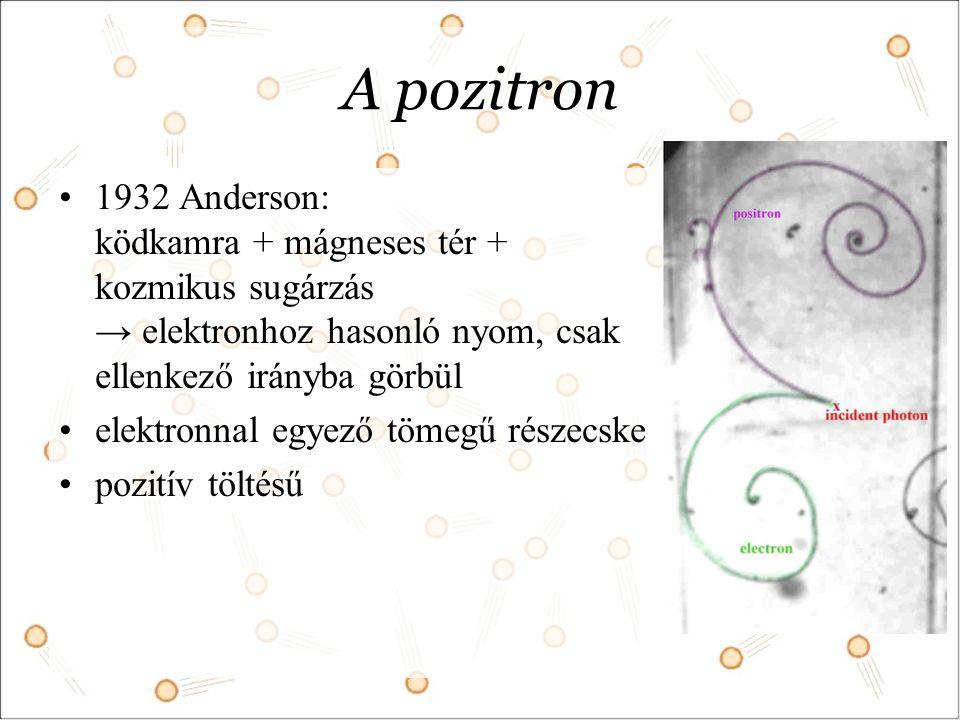 A pozitron 1932 Anderson: ködkamra + mágneses tér + kozmikus sugárzás → elektronhoz hasonló nyom, csak ellenkező irányba görbül.