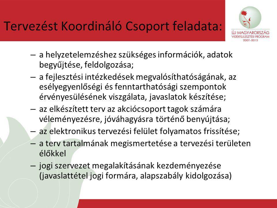Tervezést Koordináló Csoport feladata: