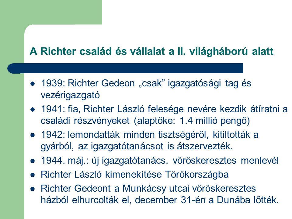 A Richter család és vállalat a II. világháború alatt