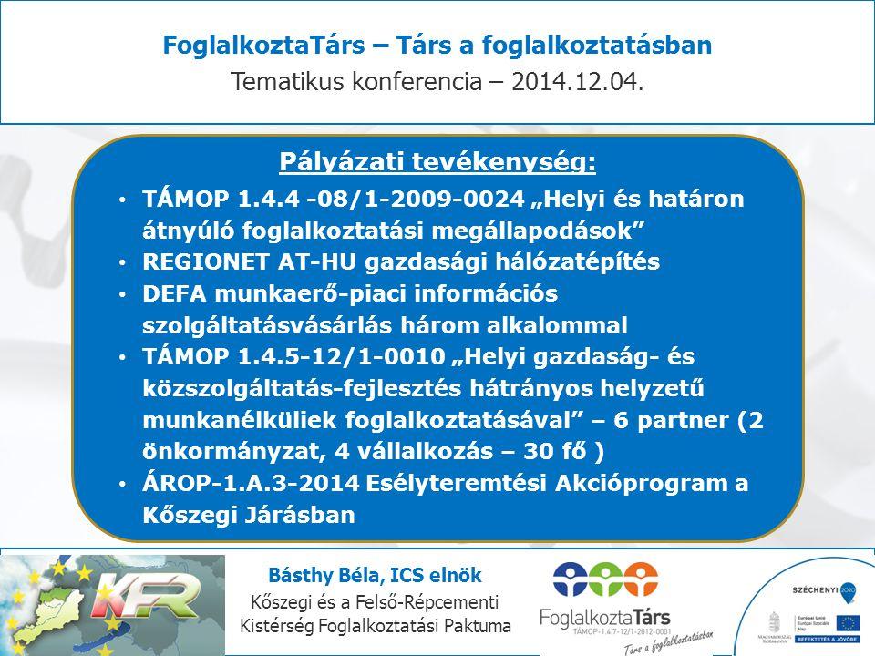 FoglalkoztaTárs – Társ a foglalkoztatásban Pályázati tevékenység: