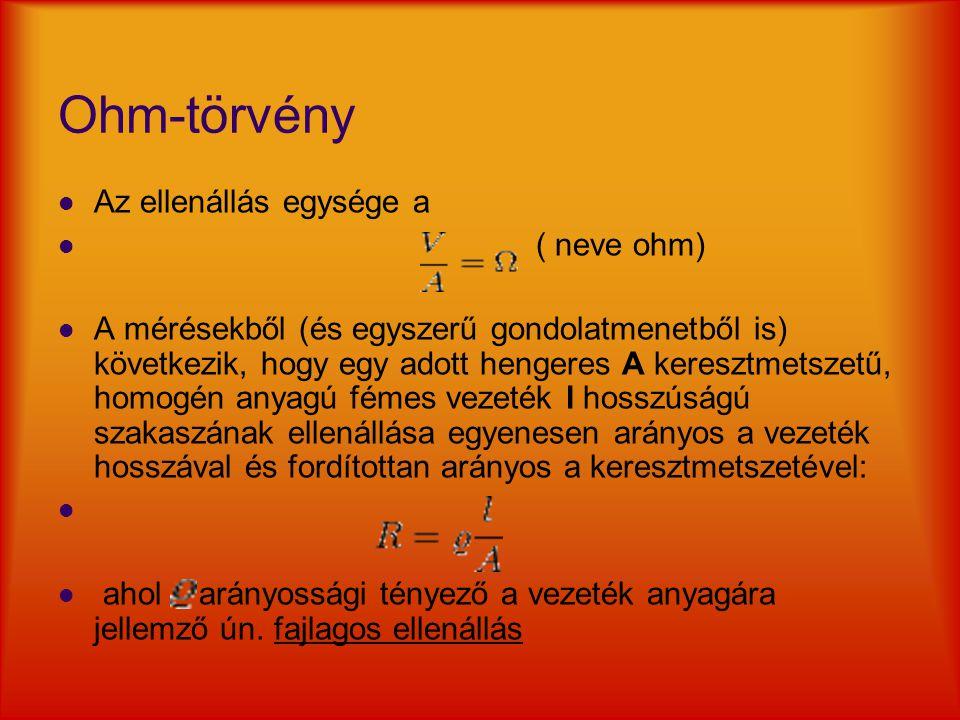 Ohm-törvény Az ellenállás egysége a ( neve ohm)