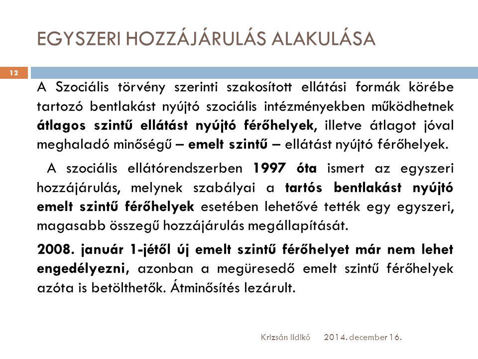 EGYSZERI HOZZÁJÁRULÁS ALAKULÁSA