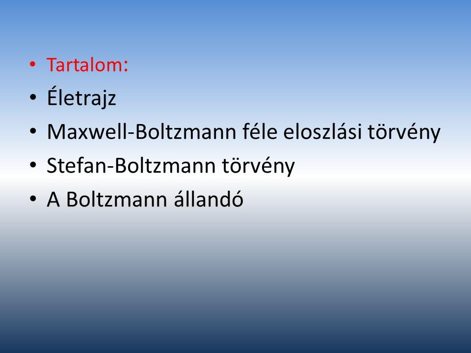 Maxwell-Boltzmann féle eloszlási törvény Stefan-Boltzmann törvény
