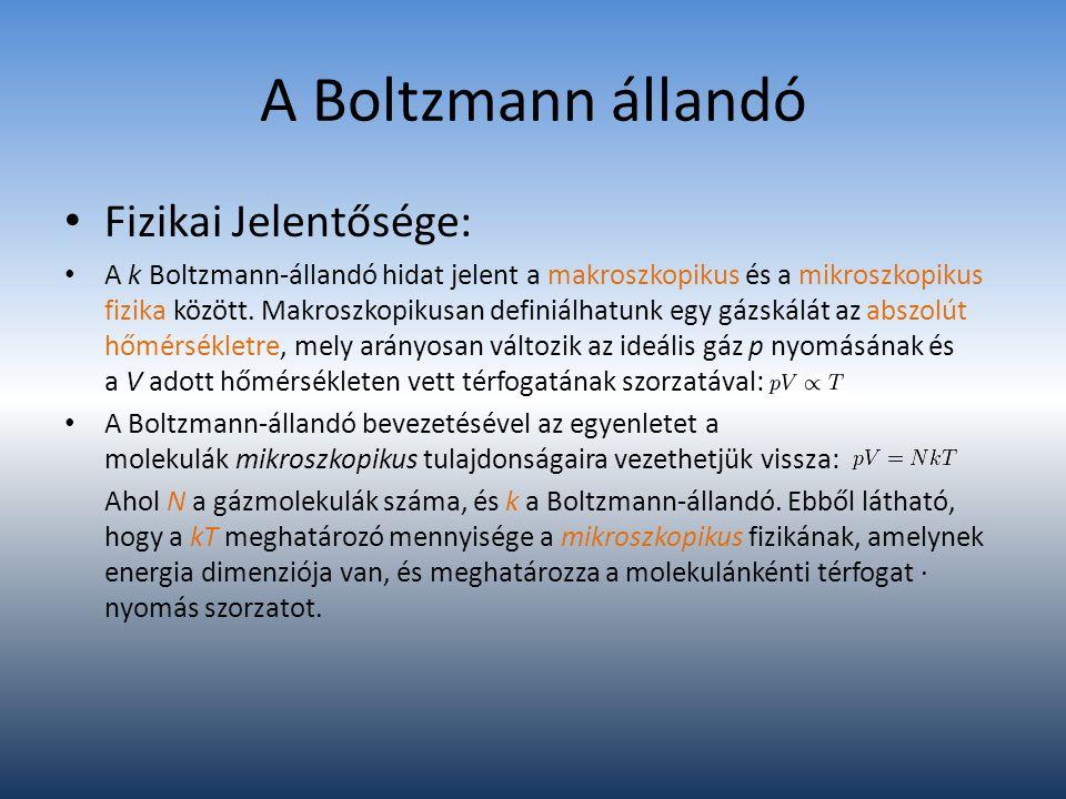 A Boltzmann állandó Fizikai Jelentősége: