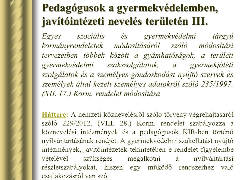 Pedagógusok a gyermekvédelemben, javítóintézeti nevelés területén III.