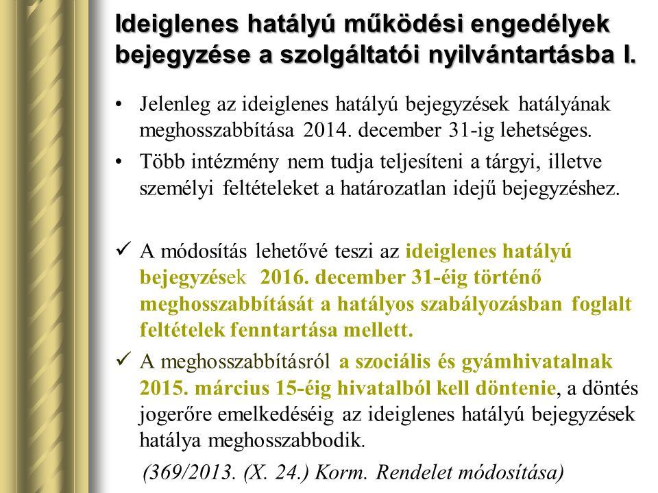 Ideiglenes hatályú működési engedélyek bejegyzése a szolgáltatói nyilvántartásba I.