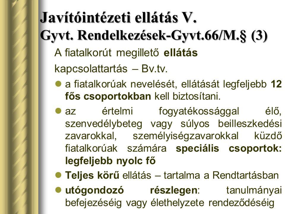 Javítóintézeti ellátás V. Gyvt. Rendelkezések-Gyvt.66/M.§ (3)