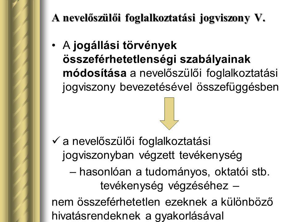 A nevelőszülői foglalkoztatási jogviszony V.