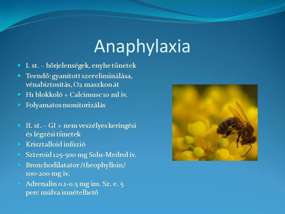 Anaphylaxia I. st. – bőrjelenségek, enyhe tünetek