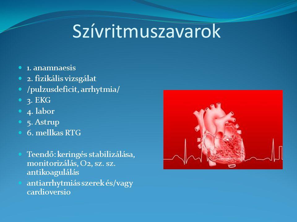 Szívritmuszavarok 1. anamnaesis 2. fizikális vizsgálat