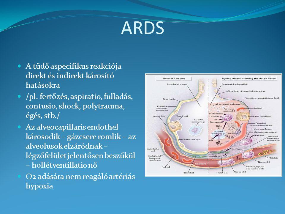 ARDS A tüdő aspecifikus reakciója direkt és indirekt károsító hatásokra.
