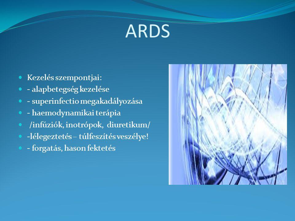 ARDS Kezelés szempontjai: - alapbetegség kezelése