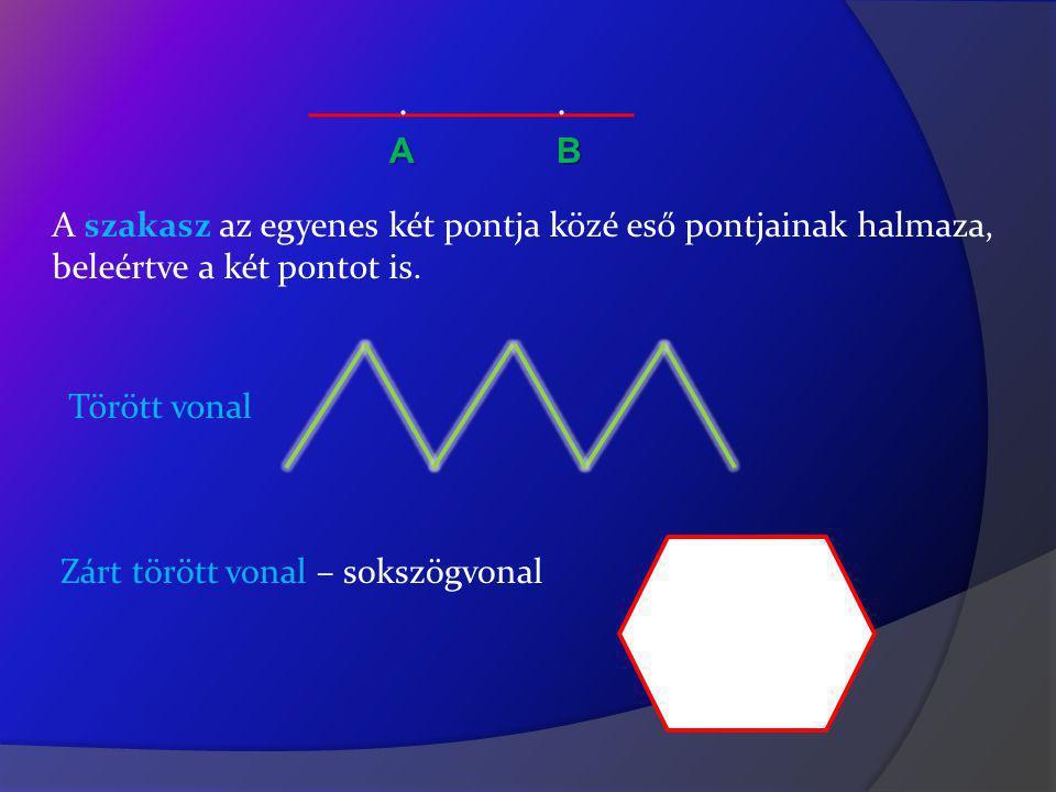 . . А B A szakasz az egyenes két pontja közé eső pontjainak halmaza,