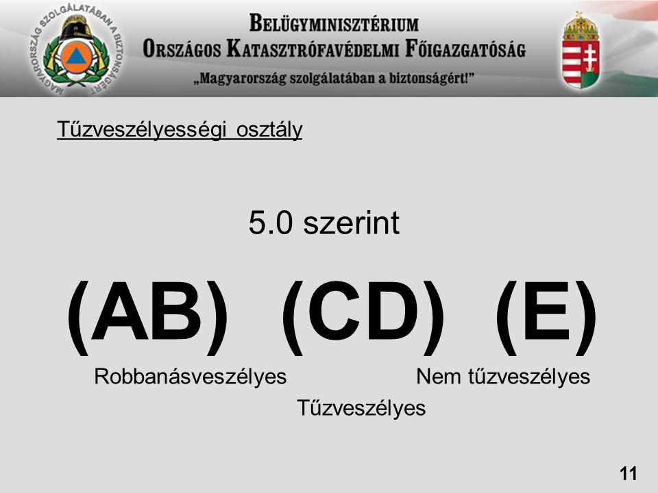 (AB) (CD) (E) 5.0 szerint Tűzveszélyességi osztály