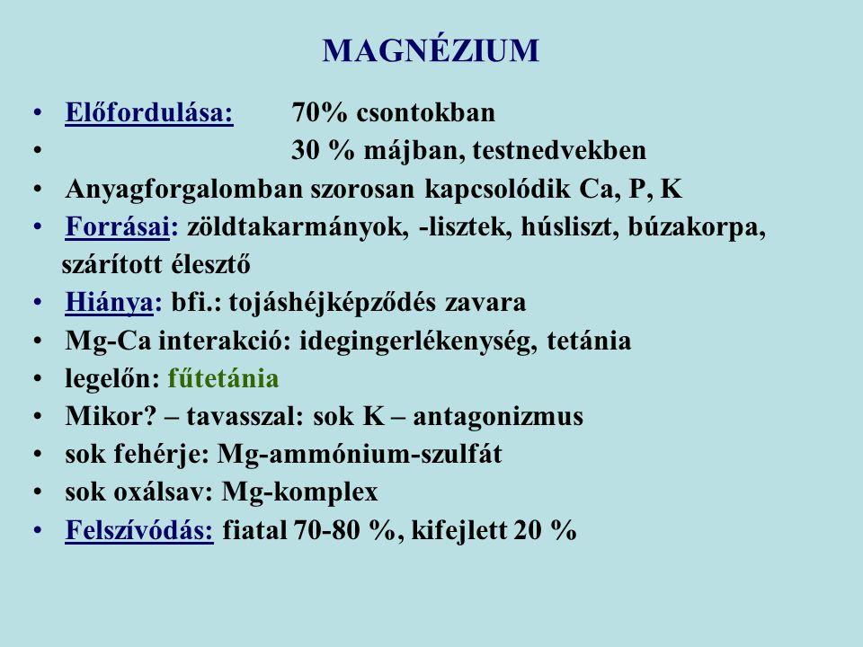 MAGNÉZIUM Előfordulása: 70% csontokban 30 % májban, testnedvekben