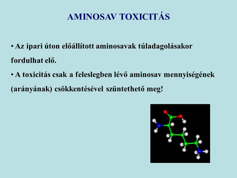 AMINOSAV TOXICITÁS Az ipari úton előállított aminosavak túladagolásakor fordulhat elő. A toxicitás csak a feleslegben lévő aminosav mennyiségének.