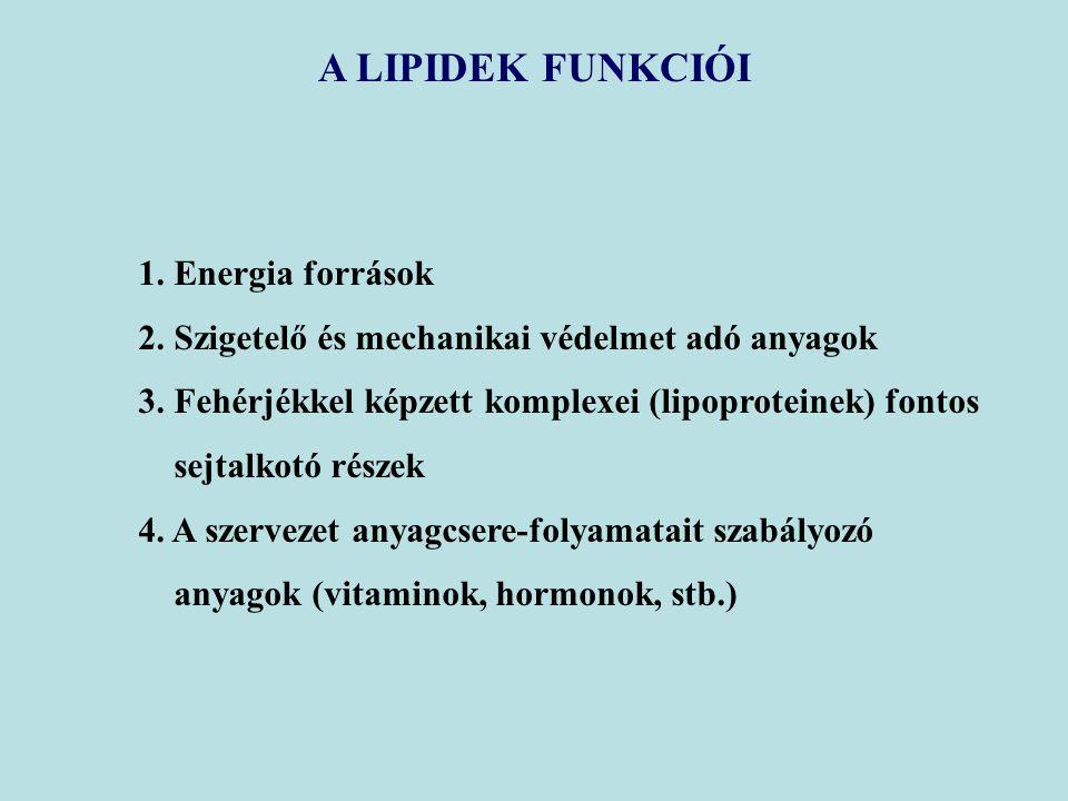 A LIPIDEK FUNKCIÓI 1. Energia források