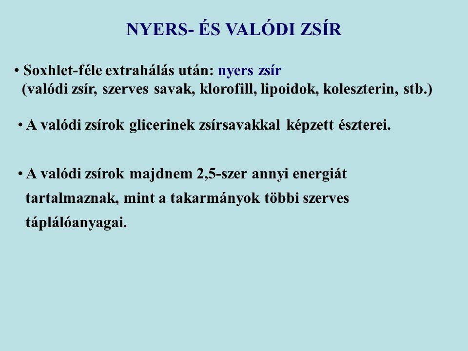 NYERS- ÉS VALÓDI ZSÍR Soxhlet-féle extrahálás után: nyers zsír