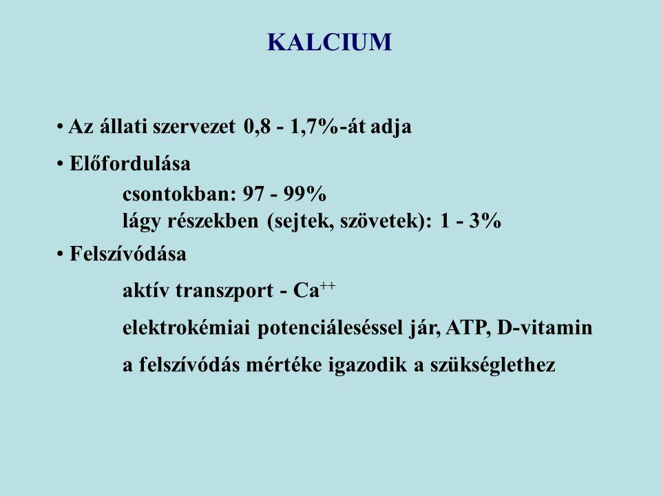 KALCIUM Az állati szervezet 0,8 - 1,7%-át adja Előfordulása