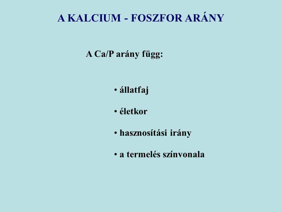 A KALCIUM - FOSZFOR ARÁNY