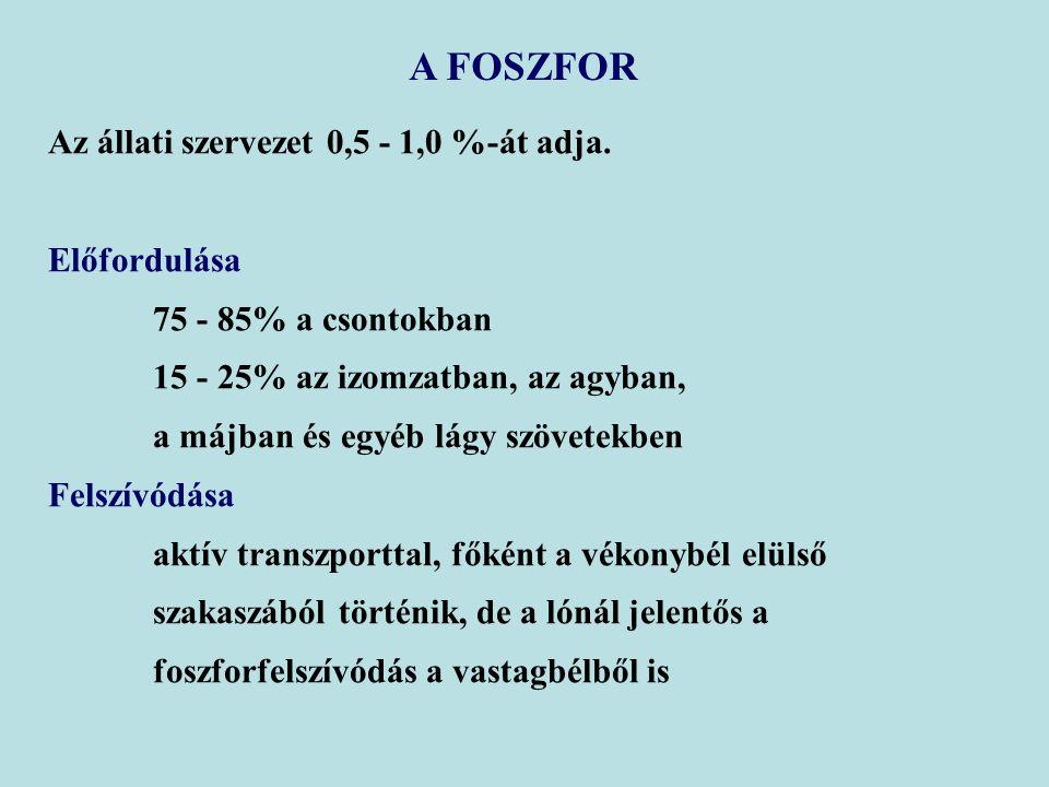 A FOSZFOR Az állati szervezet 0,5 - 1,0 %-át adja. Előfordulása