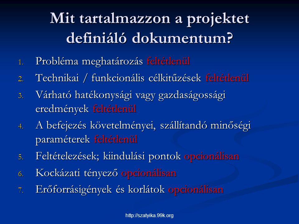 Mit tartalmazzon a projektet definiáló dokumentum