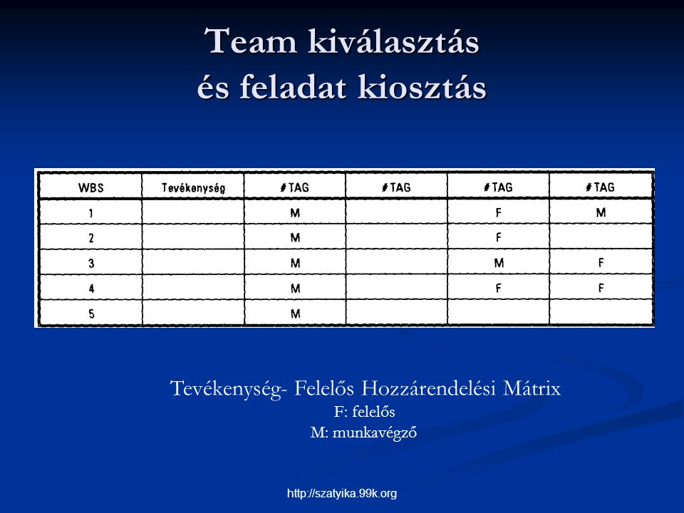 Team kiválasztás és feladat kiosztás