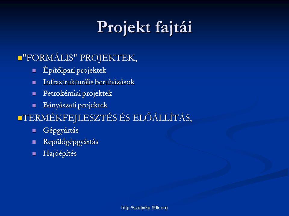 Projekt fajtái FORMÁLIS PROJEKTEK, TERMÉKFEJLESZTÉS ÉS ELŐÁLLÍTÁS,