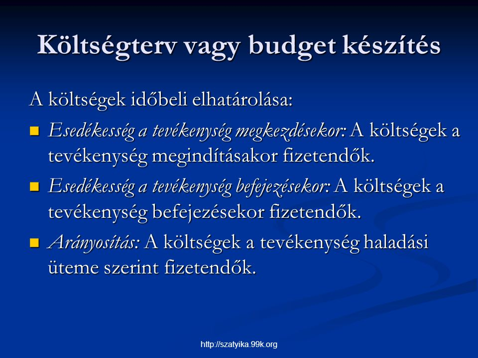Költségterv vagy budget készítés