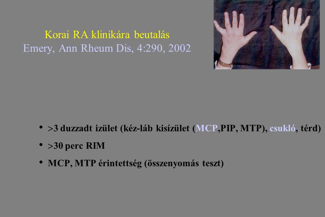 Korai RA klinikára beutalás Emery, Ann Rheum Dis, 4:290, 2002