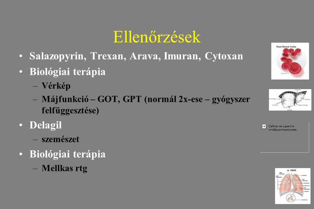 Ellenőrzések Salazopyrin, Trexan, Arava, Imuran, Cytoxan