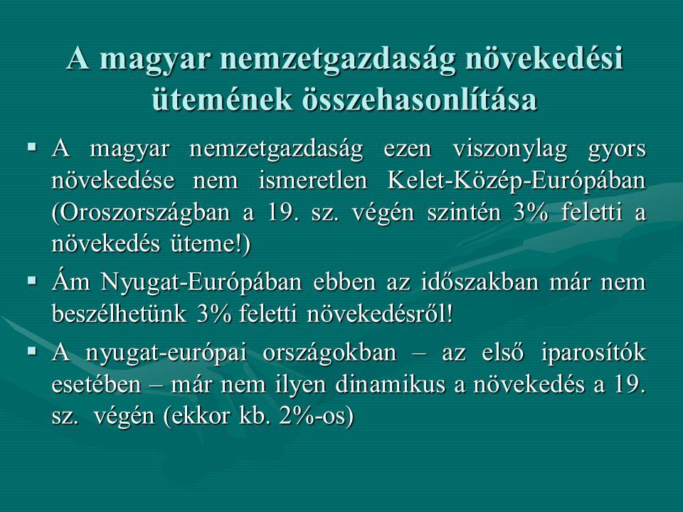 A magyar nemzetgazdaság növekedési ütemének összehasonlítása