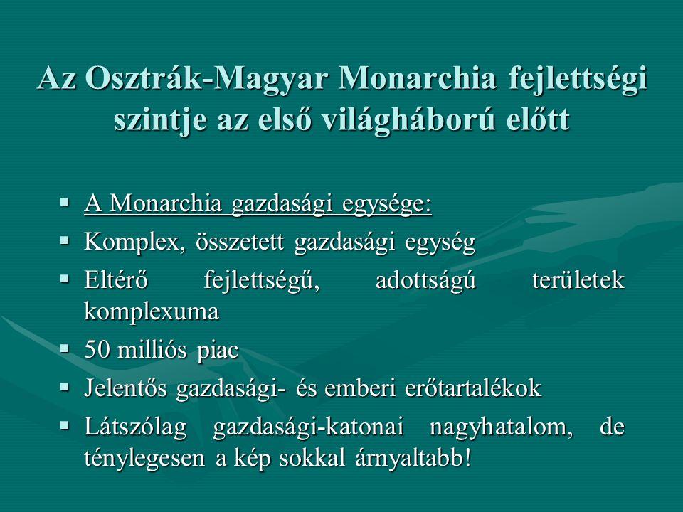 Az Osztrák-Magyar Monarchia fejlettségi szintje az első világháború előtt