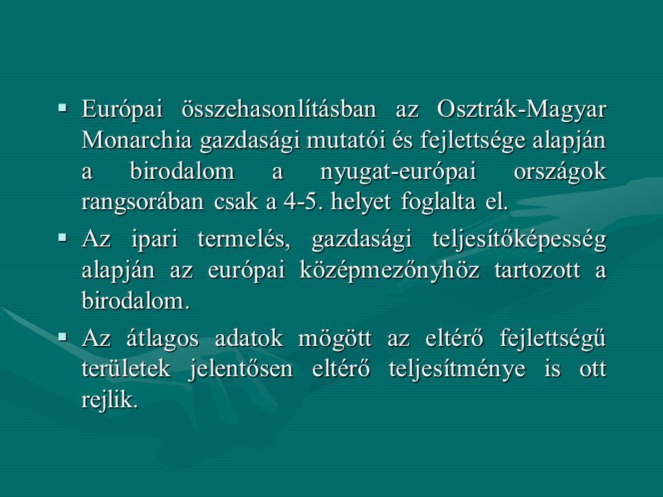 Európai összehasonlításban az Osztrák-Magyar Monarchia gazdasági mutatói és fejlettsége alapján a birodalom a nyugat-európai országok rangsorában csak a 4-5. helyet foglalta el.