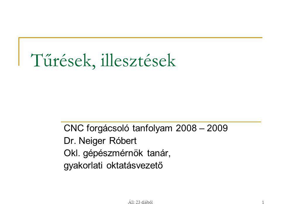 Tűrések, illesztések CNC forgácsoló tanfolyam 2008 – 2009