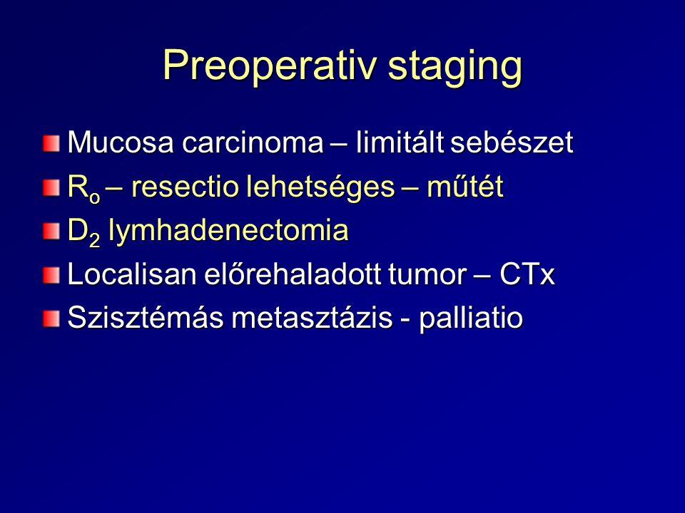 Preoperativ staging Mucosa carcinoma – limitált sebészet