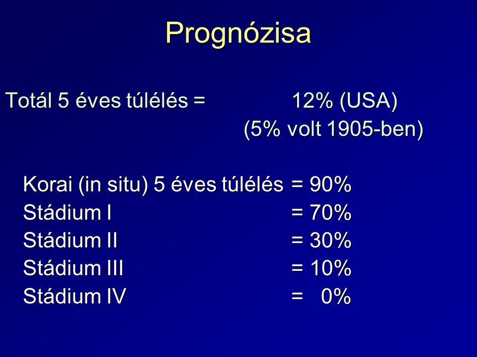 Prognózisa Totál 5 éves túlélés = 12% (USA) (5% volt 1905-ben)