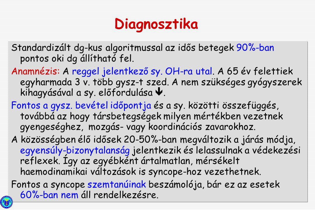 Diagnosztika Standardizált dg-kus algoritmussal az idős betegek 90%-ban pontos oki dg állítható fel.