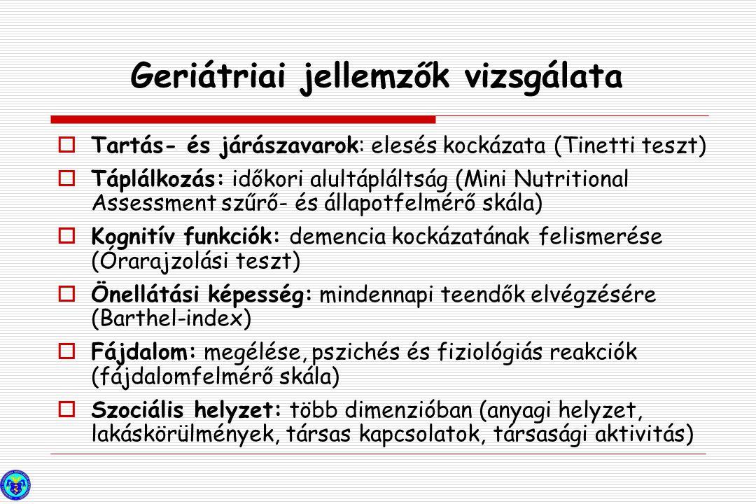 Geriátriai jellemzők vizsgálata